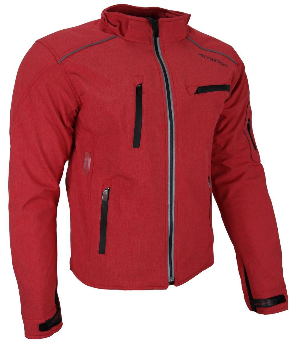 Heyberry Soft Shell Motorradjacke Textil mit Kapuze abnehmbar Rot Gr. M bis 3XL