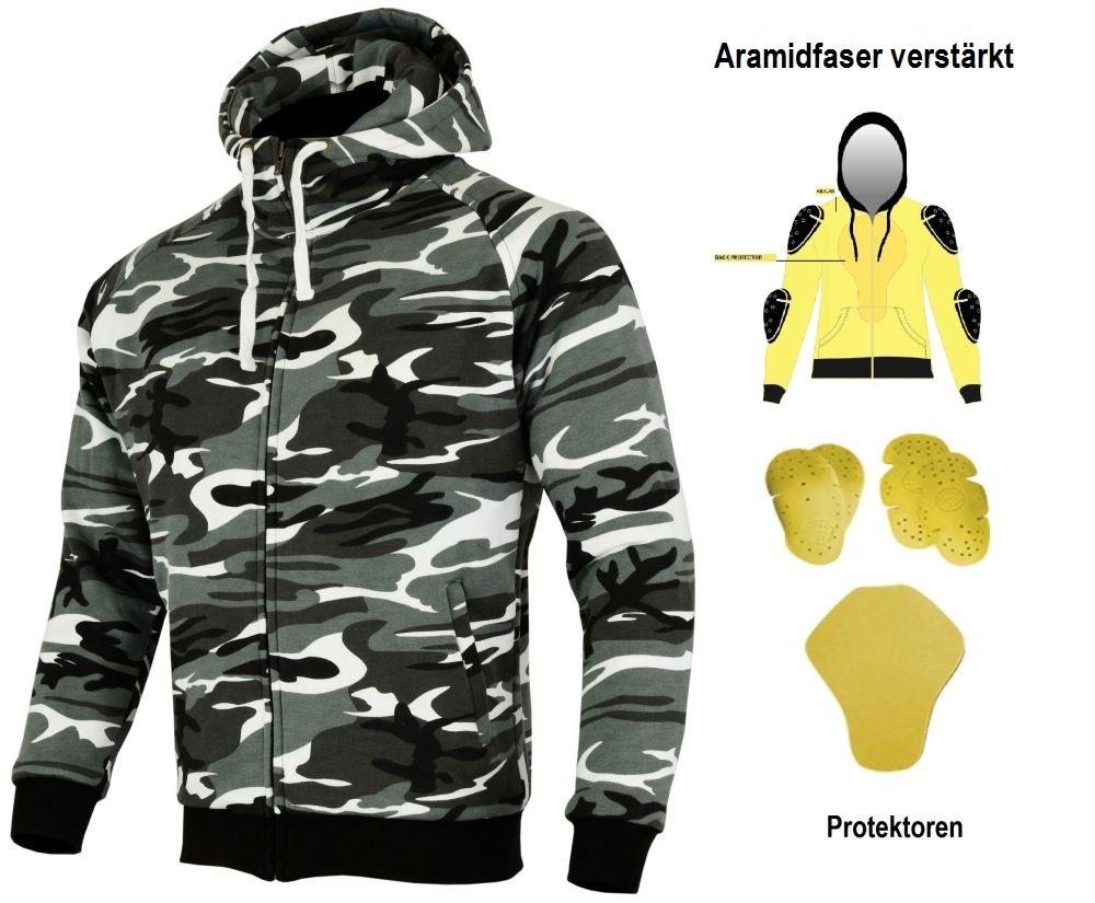 Heyberry Aramid Hoody Motorradjacke Hoodie Camouflage Gr. S - 7XL