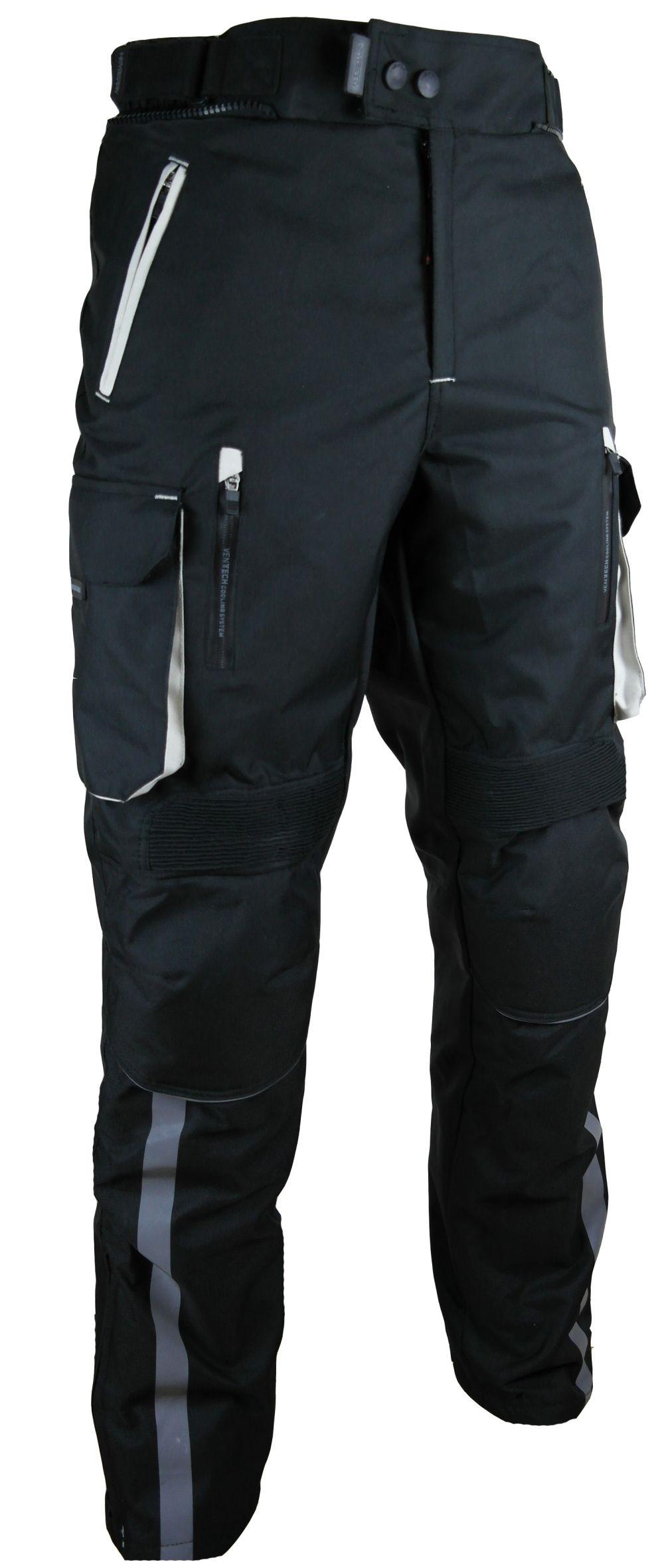 Heyberry Motorradhose Schwarz Grau Textil mit Oberschenkeltaschen M - 3XL