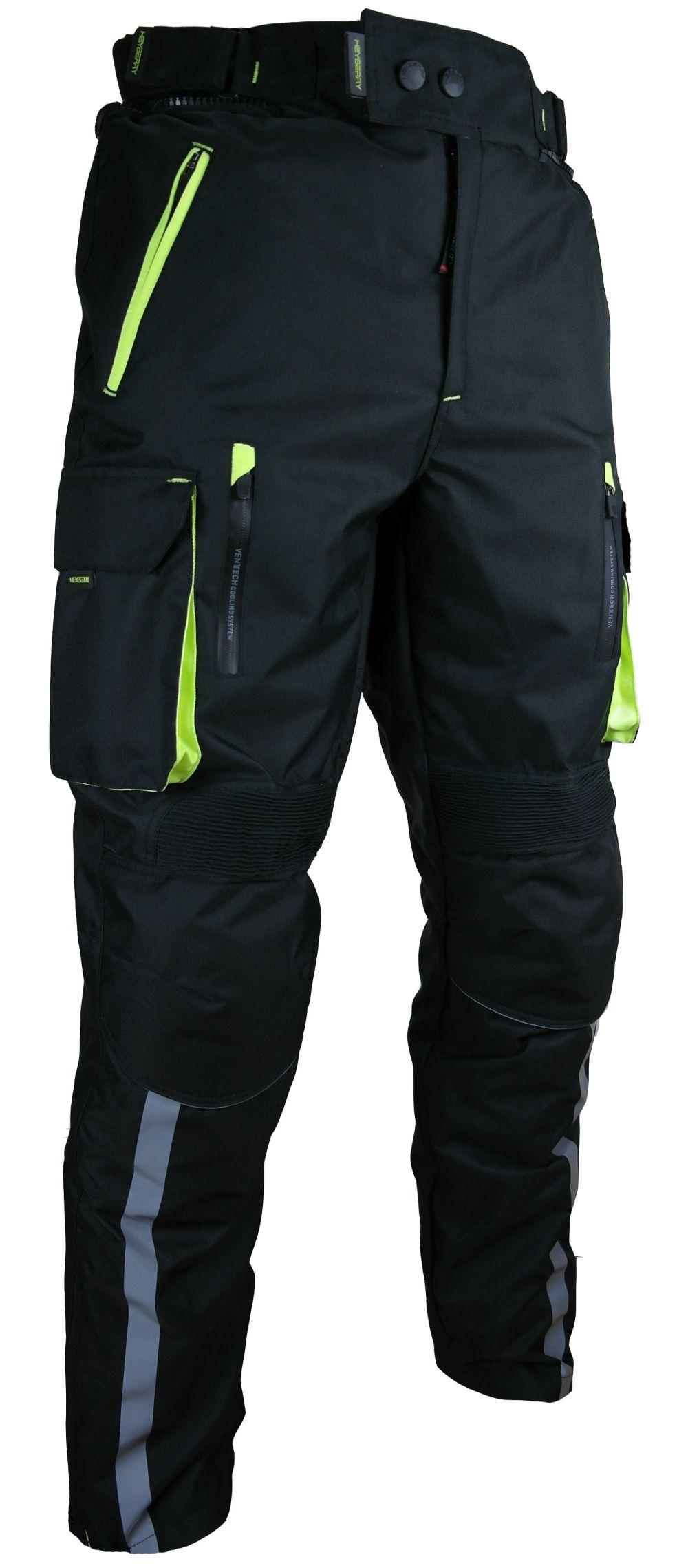 Heyberry Motorradhose Schwarz Neon Textil mit Oberschenkeltaschen M - 3XL