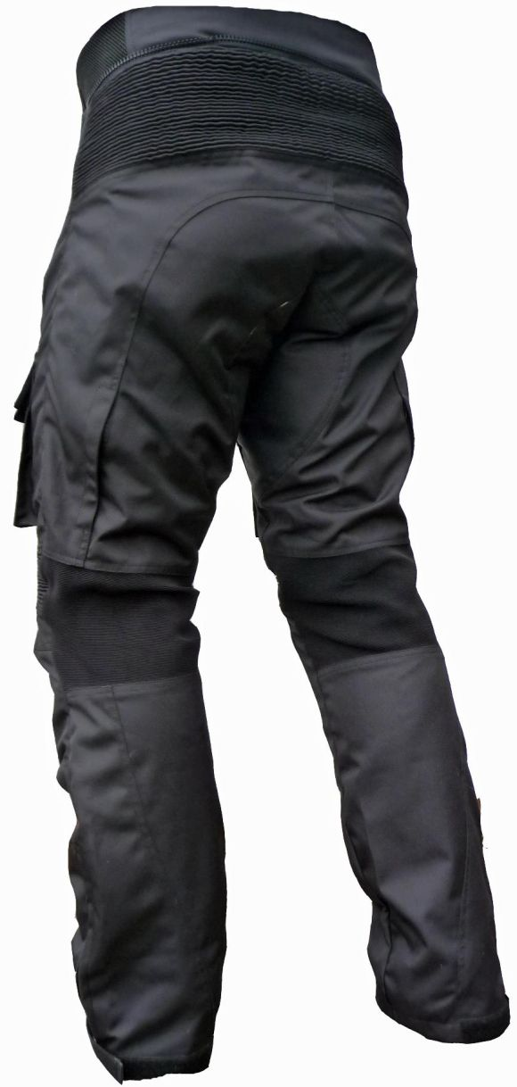 Sportliche Motorrad Hose Motorradhose Schwarz mit Oberschenkeltaschen Gr. M-7XL