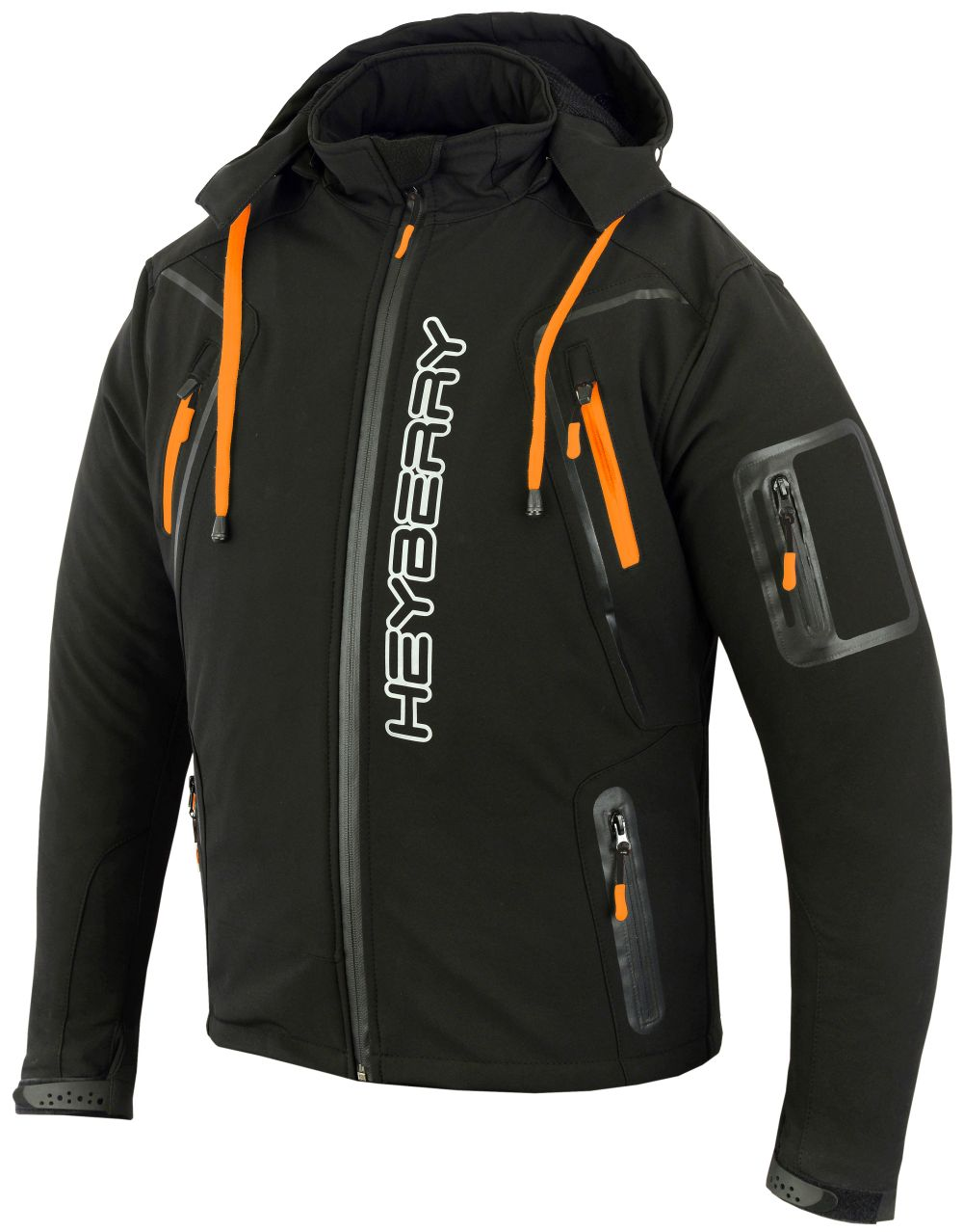 Soft Shell Motorradjacke Heyberry Textil Schwarz/Orange Gr. M L XL XXL 3XL