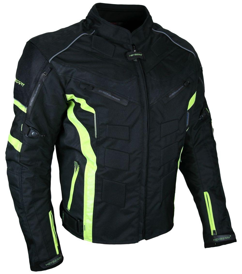 Kurze Textil Motorrad Jacke Motorradjacke Schwarz Neon M bis 7XL