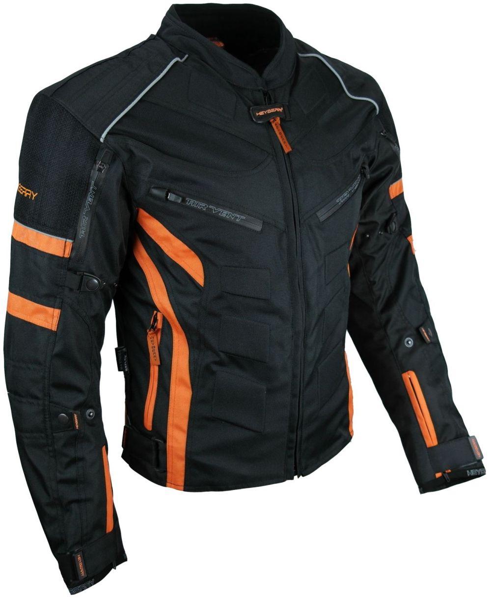 Kurze Textil Motorrad Jacke Motorradjacke Schwarz Orange Gr. M - 7XL