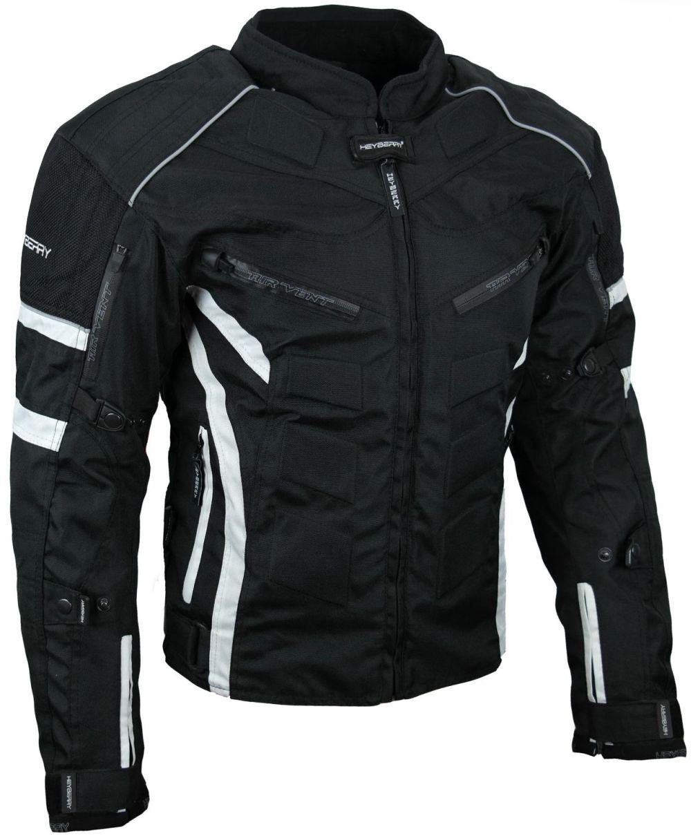 Kurze Textil Motorrad Jacke Motorradjacke Schwarz Weiß Gr. M - 7XL