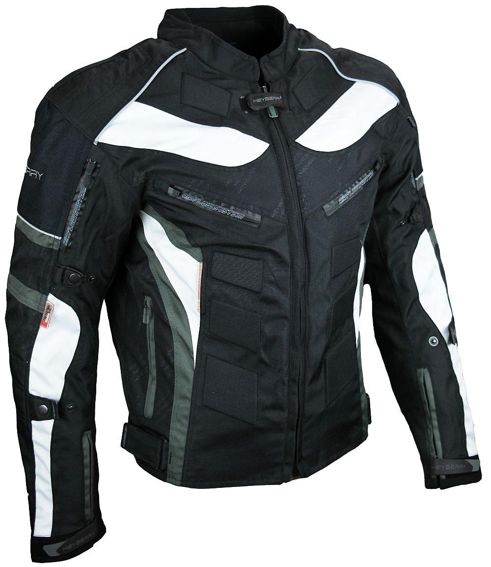 Heyberry Textil Motorrad Jacke Motorradjacke Schwarz Grau Gr. M - 7XL