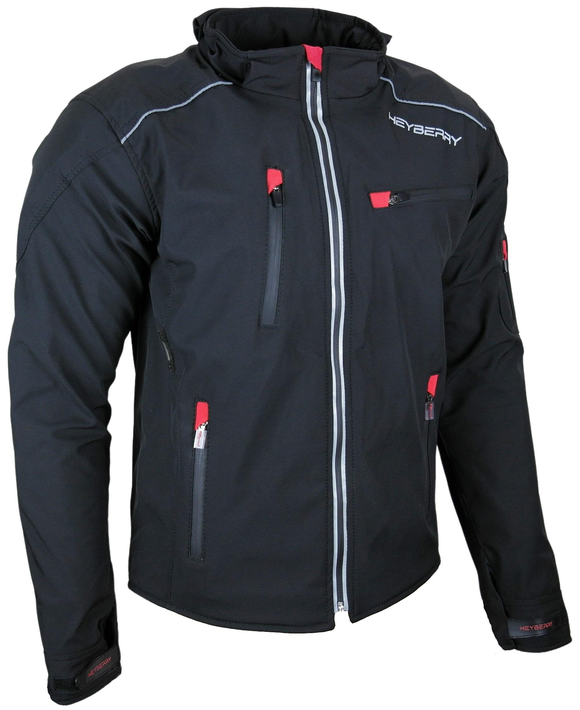 Heyberry Soft Shell Motorradjacke Textil Schwarz Gr. M - 7XL