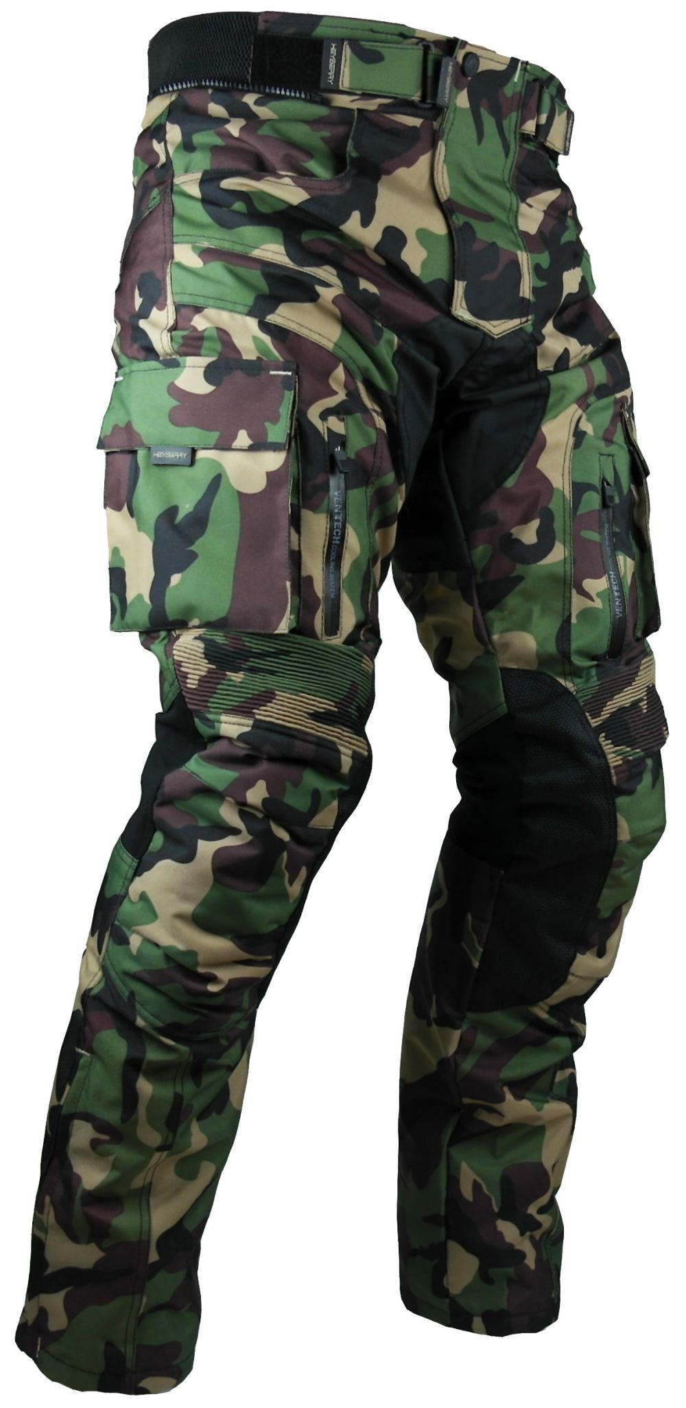 Heyberry Motorrad Hose camouflage grün mit Oberschenkeltaschen Gr. M - 7XL