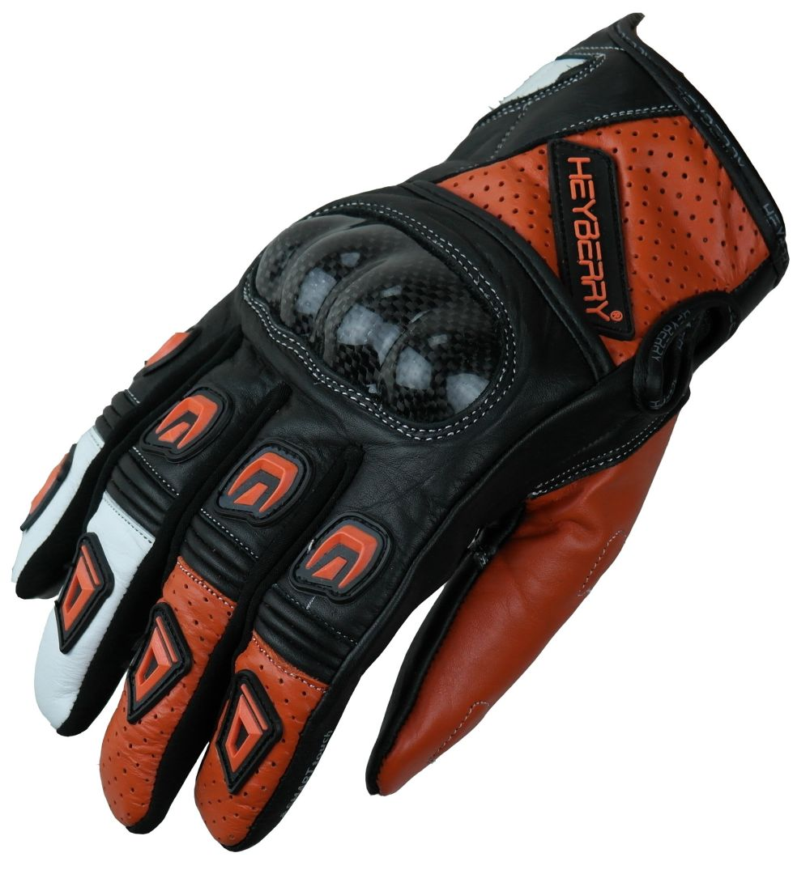 Motorradhandschuhe Leder Motorrad Handschuhe kurz schwarz orange Gr. M L XL 2XL