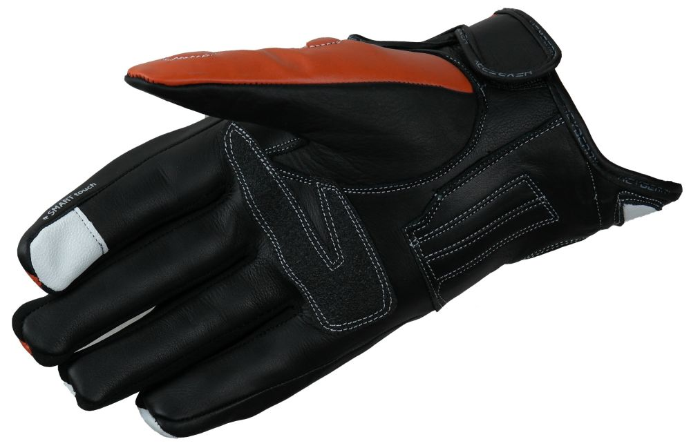 HEYBERRY Motorradhandschuhe Leder Motorrad Handschuhe kurz schwarz orange 2XL
