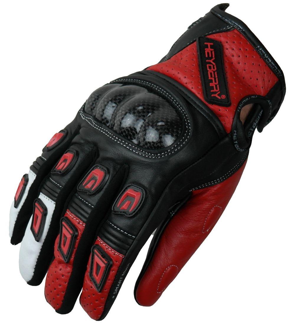 Motorradhandschuhe Leder Motorrad Handschuhe kurz schwarz rot Gr. M L XL 2XL