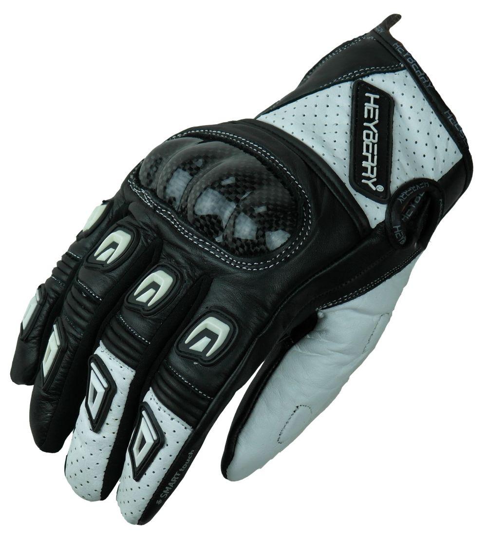 Heyberry Motorradhandschuhe Leder kurz schwarz weiß Gr. M - XXL