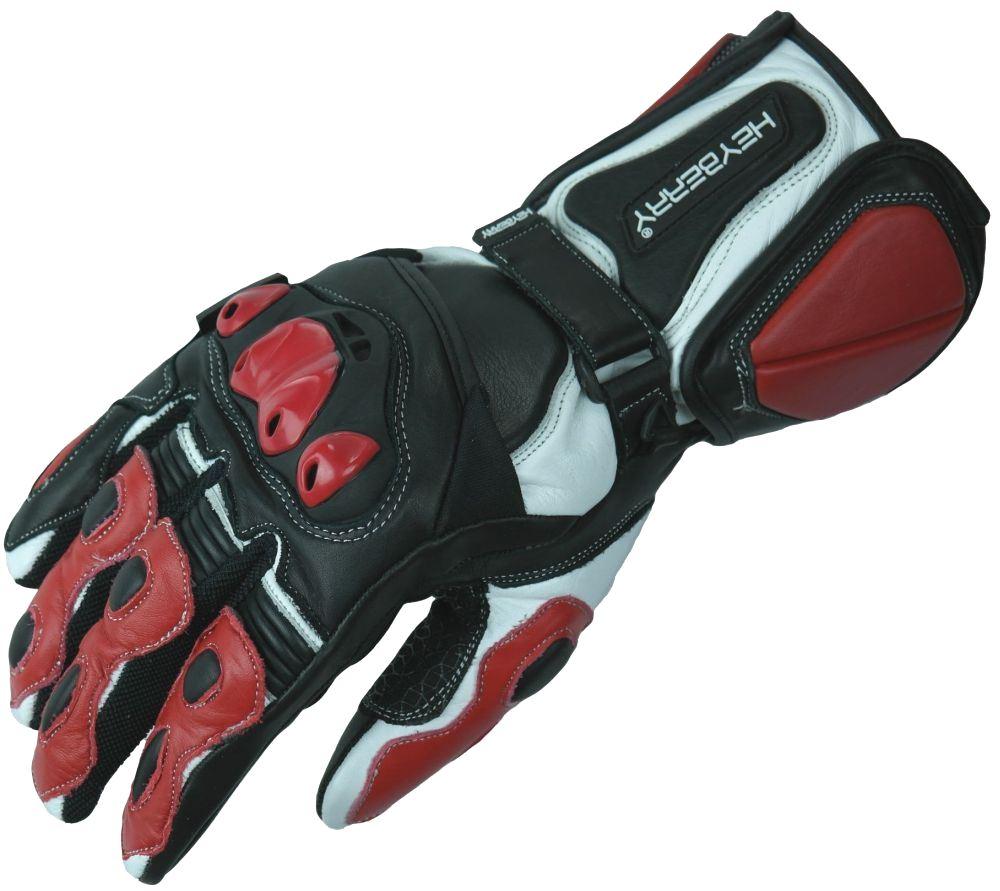 Motorradhandschuhe Leder Motorrad Handschuhe schwarz rot Gr. M L XL 2XL