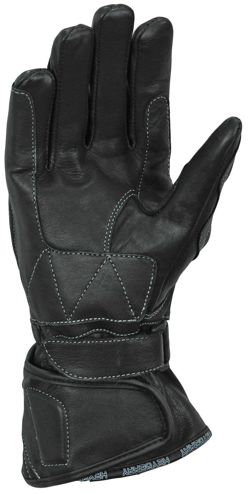 Heyberry Damen Motorradhandschuhe Leder Schwarz Gr. XS - XL