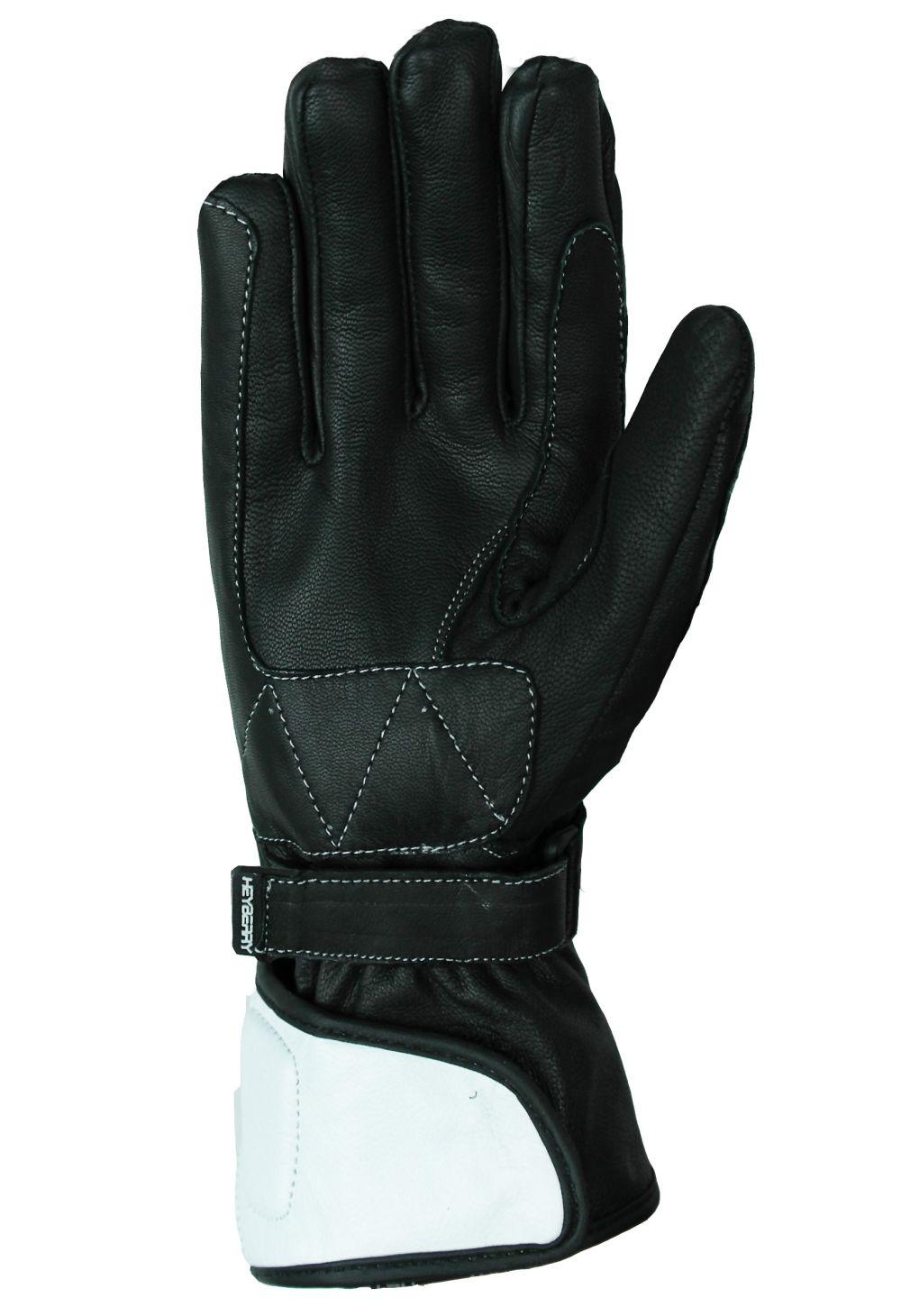 Heyberry Damen Motorradhandschuhe Leder Schwarz Weiß Gr. XS - XL