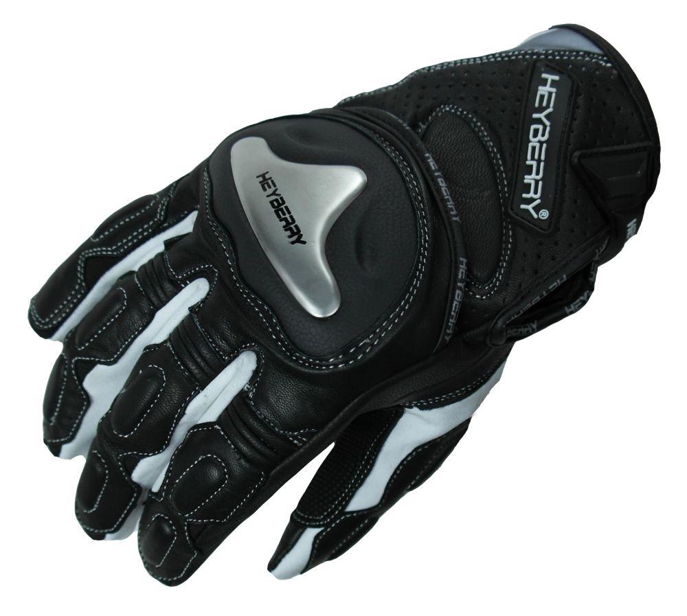 Heyberry Motorradhandschuhe Leder sportlich kurz schwarz/weiß M - XXL