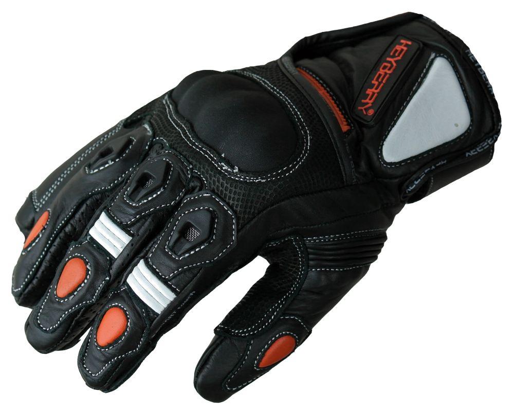 Heyberry Motorradhandschuhe kurz Leder schwarz weiß orange Gr. M L