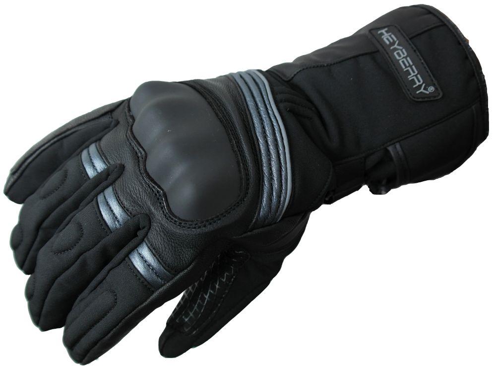 Heyberry Winter Motorradhandschuhe gefüttert schwarz grau Gr. M - XXL