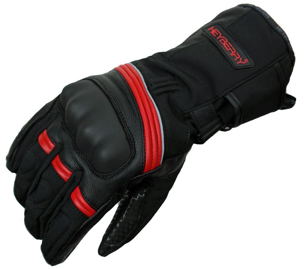 Heyberry Winter Motorradhandschuhe gefüttert schwarz rot Gr. M - XXL