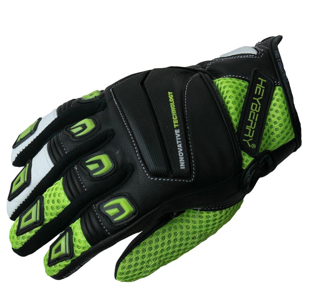Heyberry Motorrad Handschuhe Motorradhandschuhe Sommer schwarz neon M L XL