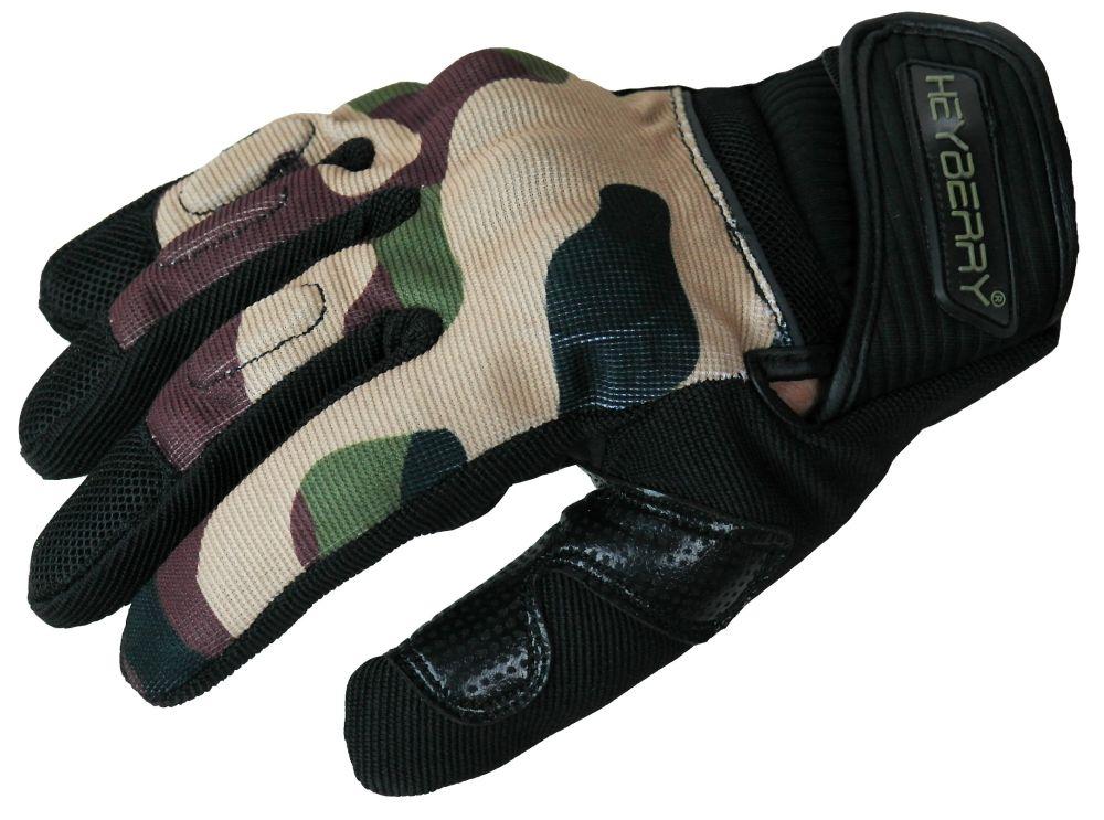 Heyberry Sommer Motorrad Handschuhe Textil kurz camouflage grün Gr. M L XL