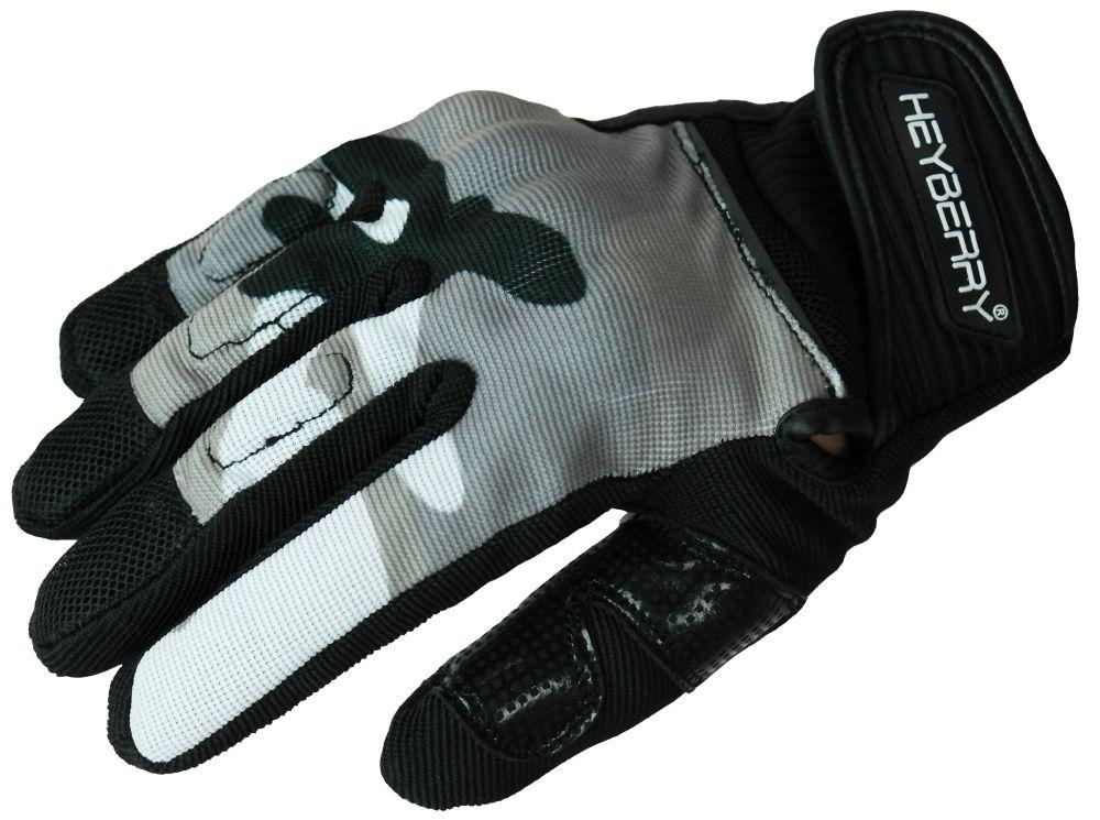 Heyberry Sommer Motorrad Handschuhe Textil kurz camouflage weiß Gr. M L XL