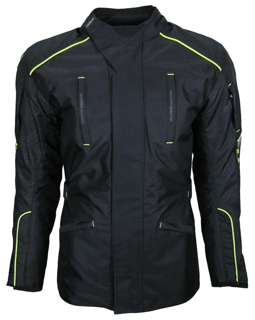 Heyberry Textil Touren Motorradjacke Motorrad Jacke schwarz neon Gr. M-3XL