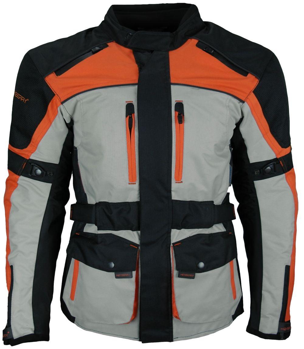 Heyberry Textil Touren Motorradjacke  schwarz beige orange Gr. M - 3XL