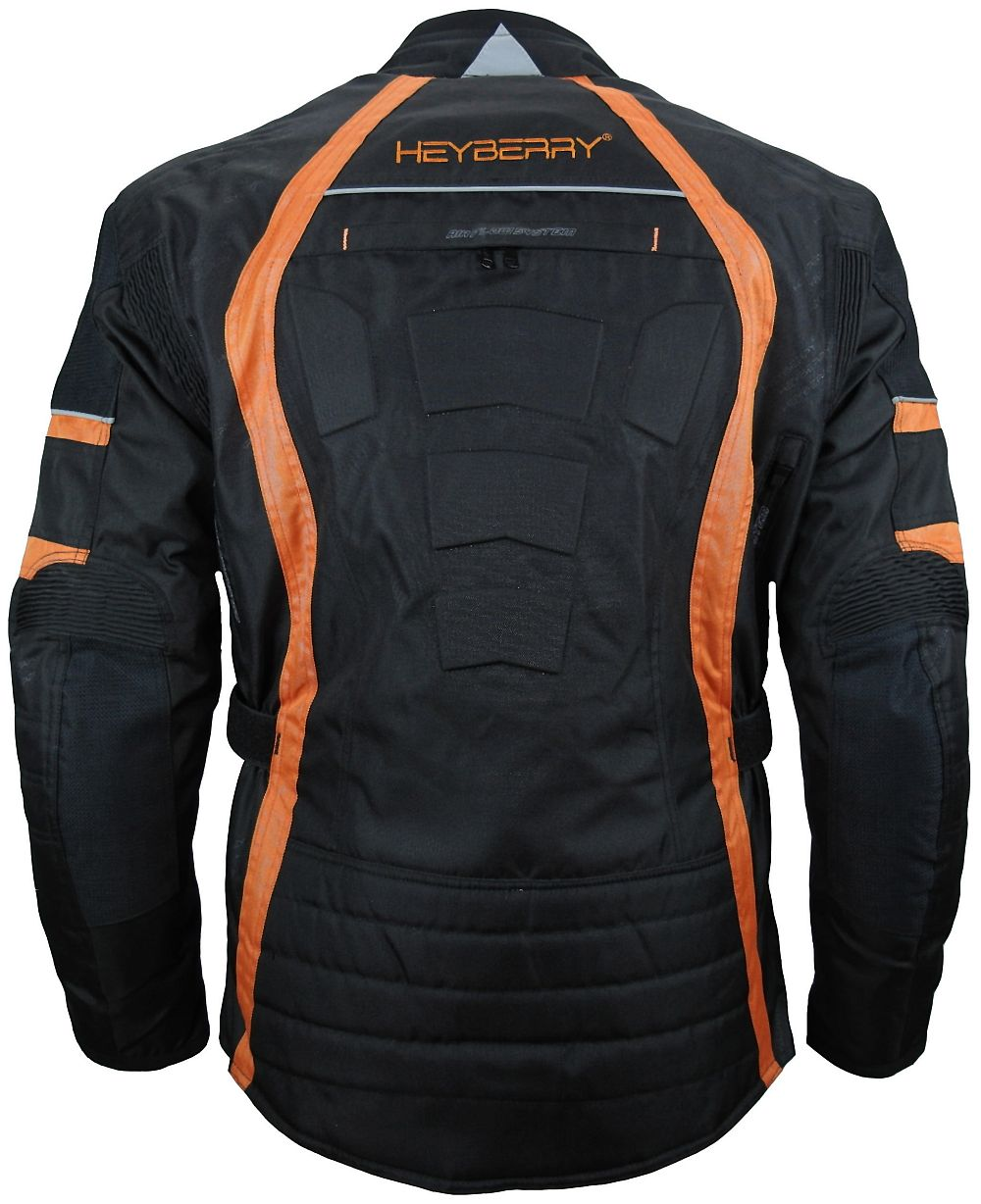 herren touren motorradjacke textil heyberry schwarz orange. Black Bedroom Furniture Sets. Home Design Ideas