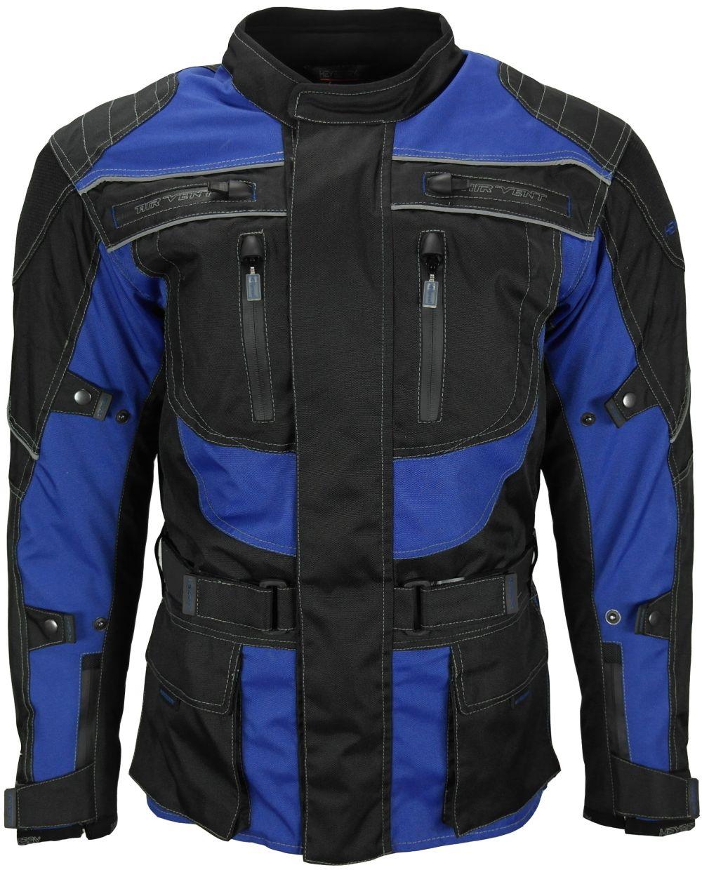 Heyberry Touren Motorrad Jacke Motorradjacke Textil schwarz blau M - 3XL