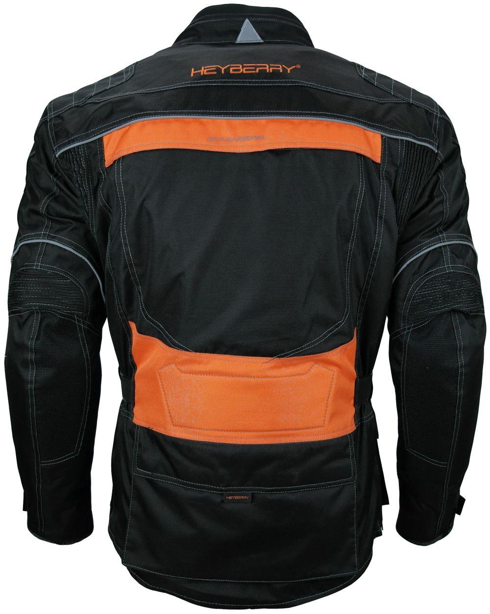 Heyberry Touren Motorrad Jacke Motorradjacke Textil schwarz orange M - 3XL