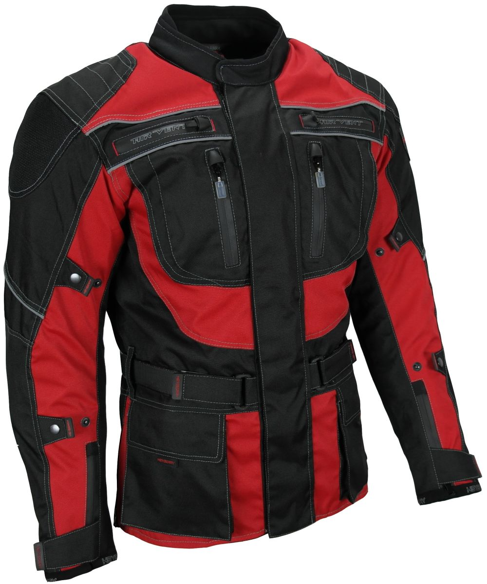 Heyberry Touren Motorrad Jacke Motorradjacke Textil schwarz rot  Gr. M - 3XL