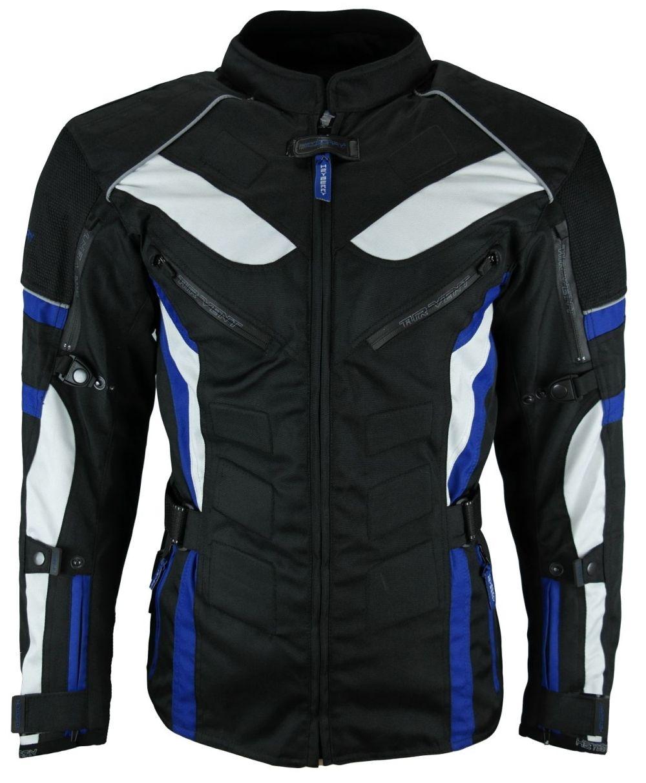 Touren Motorrad Jacke Motorradjacke Textil grau //blau