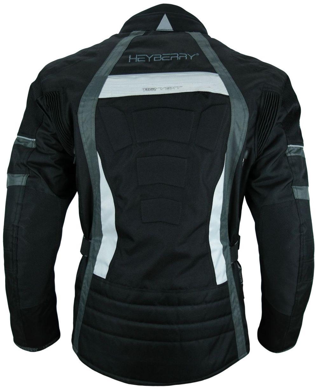 HEYBERRY Touren Motorrad Jacke Motorradjacke Textil schwarz grau Gr.4XL
