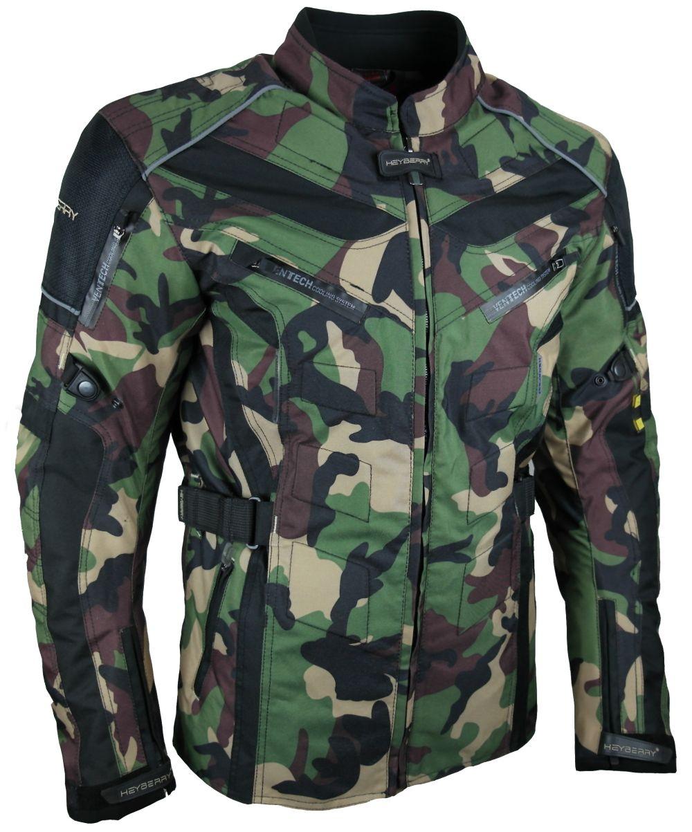 Heyberry Touren Motorrad Jacke Motorradjacke Textil Camouflage Grün M-7XL