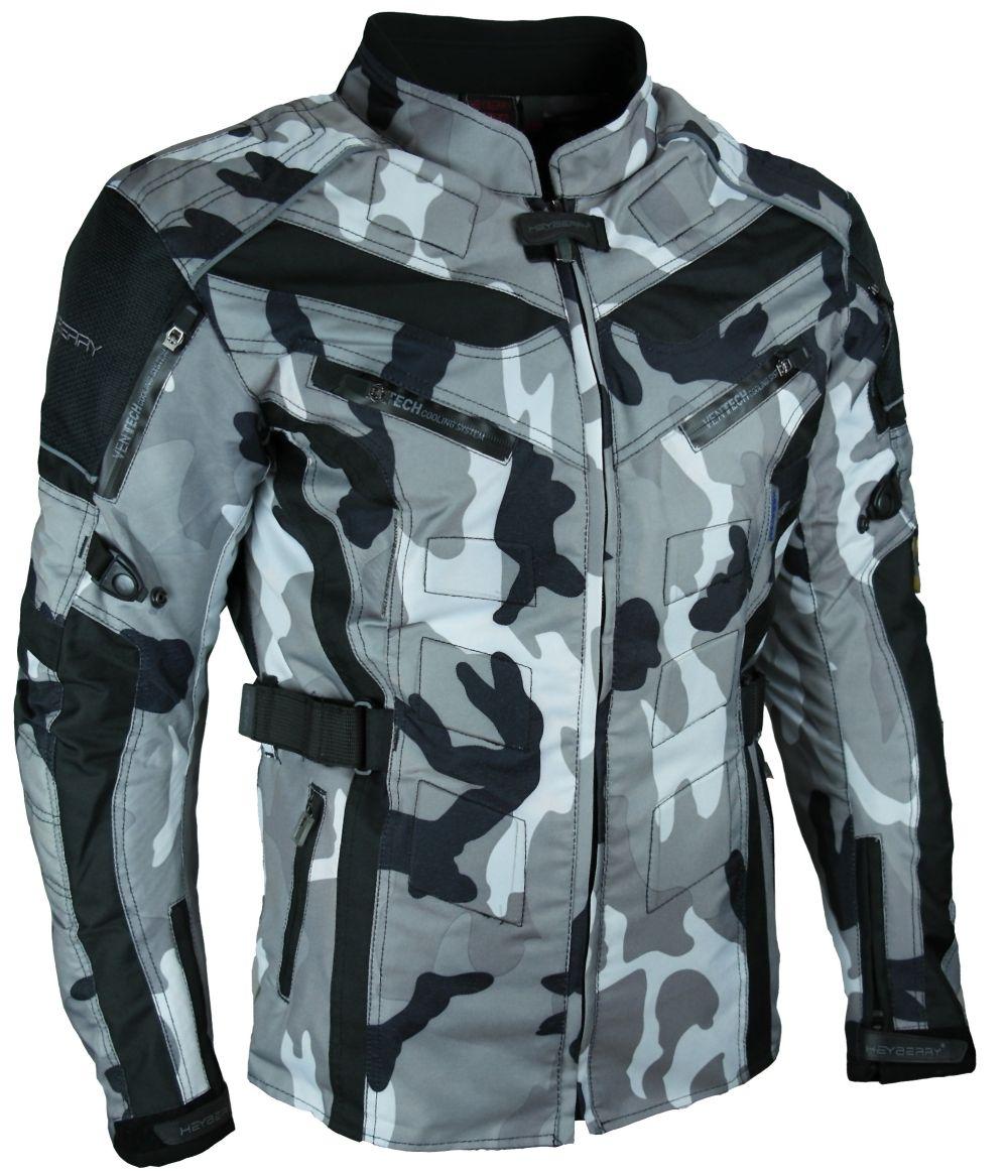 Heyberry Touren Motorrad Jacke Motorradjacke Textil Camouflage Weiß M-7XL